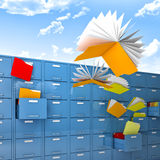 Flying files. Files and folder fly like butterfly Stock Photos