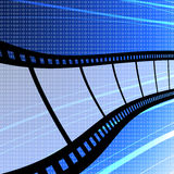 Flying film strip with digit background. Film industry concept Stock Photography