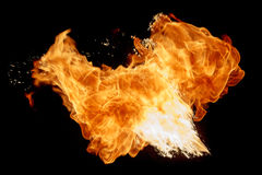 Flying fire ball. stock image