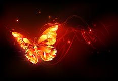 Flying fire butterfly on black background royalty free illustration