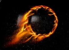 Flying fireball black ball. royalty free stock photography