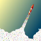 Flying firework rocket with confetti. Vector illustration Stock Photos