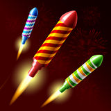 Flying fireworks rocket. Vector illustration of flying fireworks rocket Royalty Free Stock Image