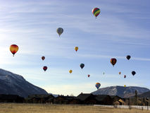 Flying First Class. Hot air balloons early in the morning Stock Photo