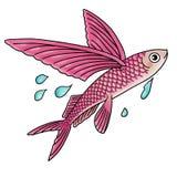 Flying fish. Cartoon illustration of a flying fish Stock Photo