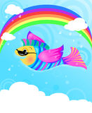 Flying Fish. Illustration of a flying fish in the sky with clouds, raindrops, and rainbow royalty free illustration