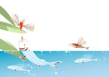 Flying fish. Illustration in white background (EPS and JPG formats Stock Photos