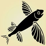 Flying fish black woodcut Stock Photography