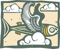 Flying Fish and Clouds Stock Photos