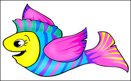 Flying Fish. Illustration of a winged flying fish in bright colors royalty free illustration