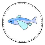 Flying fish isolated on white background. Cute flying fish cartoon  illustration. Underwater animal handdrawn patch. Marine fish drawing. Tropical sea fish Stock Image