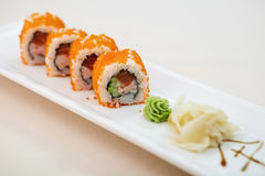 Flying fish roe maki Royalty Free Stock Photo