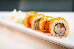 Flying fish roe maki. With wasabi and ginger Royalty Free Stock Photography