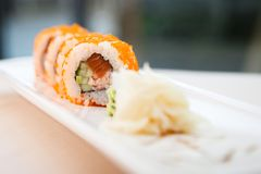 Flying fish roe maki. With wasabi and ginger Royalty Free Stock Images