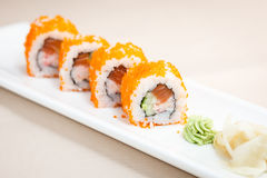 Flying fish roe maki. With wasabi and ginger Stock Image