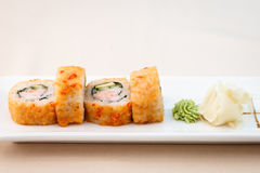 Flying fish roe maki. With wasabi and ginger Royalty Free Stock Image