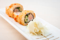 Flying fish roe maki. With wasabi and ginger Royalty Free Stock Photo