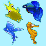 Flying fish, seahorse and other tropical fish. On blue background. Vector series of exotic deep water characters Royalty Free Stock Photos