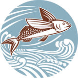 Flying fish with waves retro style Royalty Free Stock Image