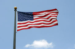 Flying Flag. American flag waving in the air Royalty Free Stock Photography