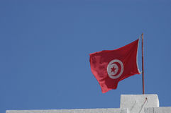 Flying Flag. The flag of Tunisia royalty free stock photography
