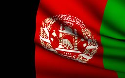 Flying Flag of Afghanistan Royalty Free Stock Images