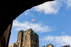 Flying Flag at Alnwick Castle stock photography