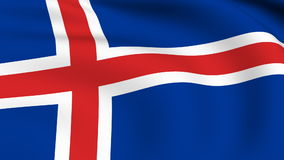 Flying Flag of ICELAND | LOOPED Royalty Free Stock Image