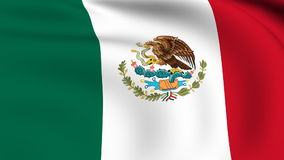 Flying Flag of MEXICO | LOOPED Royalty Free Stock Photo