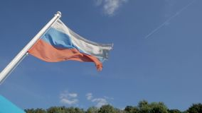 Flying flag of Russian Federation stock video footage