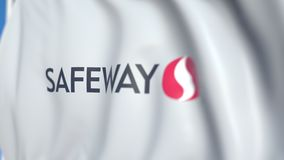 Flying flag with Safeway Inc logo, close-up. Editorial loopable 3D animation. Waving flag with Safeway Inc logo. Editorial 3D stock video
