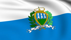 Flying Flag of SAN MARINO | LOOPED stock footage