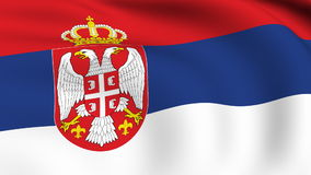 Flying Flag of SERBIA | LOOPED stock footage