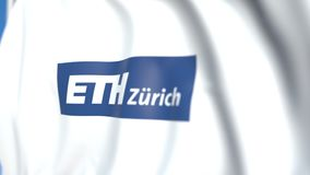 Flying flag with Swiss Federal Institute of Technology Zurich emblem, close-up. Editorial loopable 3D animation. Waving flag with Swiss Federal Institute of stock video