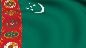 Flying Flag of TURKMENISTAN | LOOPED stock footage