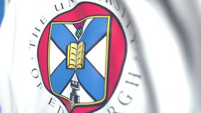 Flying flag with University of Edinburgh emblem, close-up. Editorial loopable 3D animation. Waving flag with University of Edinburgh emblem. Editorial 3D stock footage