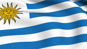 Flying Flag of URUGUAY | LOOPED. | stock video