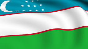 Flying Flag of UZBEKISTAN | LOOPED. | stock video footage