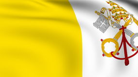 Flying Flag of VATICAN CITY | LOOPED. | stock footage