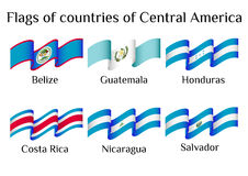 Flying flags of Central America countries in waves. Set of flying flags of Central America countries in waves  on white background. Vector illustration Stock Image