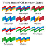 Flying flags of CIS countries in waves Stock Image