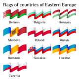 Flying flags of Eastern Europe countries in waves Stock Photography