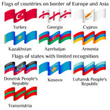 Flying flags of Europe and Asia countries in waves Royalty Free Stock Photo