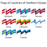 Flying flags of Northern Europe countries in waves Royalty Free Stock Photos