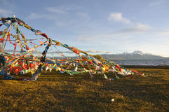 flying flags in Tibet Stock Photography