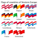 Flying flags of Western Europe countries in waves Stock Photos