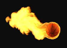 Flying Flaming Basketball Stock Images