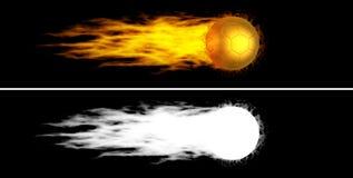 Flying flaming golden soccer ball Stock Photo