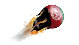 Flying Flaming Soccer Ball with Afghanistan Flag. Soccer ball with a trail of smoke and flames flying through the air with flags from countries of the world Royalty Free Stock Images