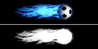Flying flaming soccer ball. Flying soccer ball with a blue fiery tail. Alpha channel is included Royalty Free Stock Images